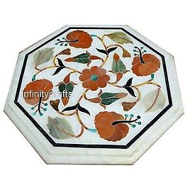 12 X 12 Inches White Sofa Side Table Octagon Shape Coffee Table with Floral Work