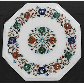 12 Inches Marble Coffee Table Top Semi Precious Stones Bed Side Table Home Decor
