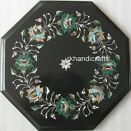 12 Inches Marble Bed Side Table Inlay Coffee Table Top Semi Precious Stones