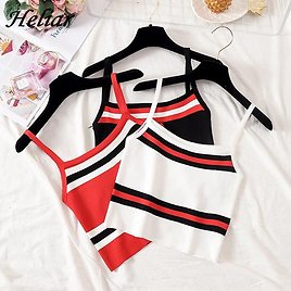 US $4.69 53% OFF|HELIAR 2020 Summer Women Crop Tops Knitting Camis Sexy Crop Top Striped Cotton Camis Femme Camis Women Spaghetti Tank Tops|Camis| - AliExpress
