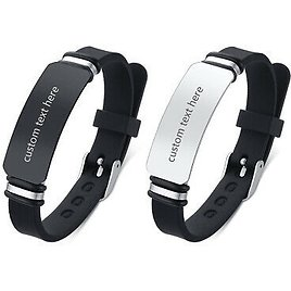 Men's Womens Stainless Steel Silicone Custom Bracelet Bangle Cuff Free Engraving