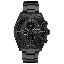 Seiko Men's Solar Chronograph Black Stainless Steel Bracelet Watch 43.2mm & Reviews - All Fine Jewelry - Jewelry & Watches