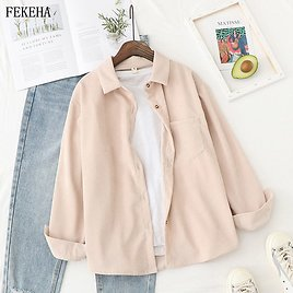 US $14.34 37% OFF|Corduroy Shirts Womens Tops And Blouses Long Sleeve Spring Ladies Solid Loose Boyfriend Style Shirt|Blouses & Shirts| - AliExpress