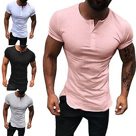 RT Men V Neck T Shirt Short Sleeve Button Tops Tee Muscle Casual Slim Fit Solid