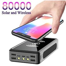 80000mAh Wireless Solar Power Bank Portable Phone Fast Charging External Charger