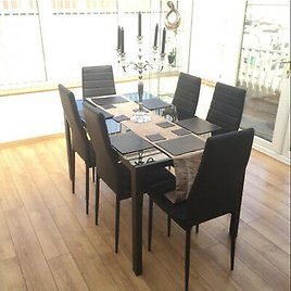 For Dinning Room Kitchen Metal Black Glass Dining Table Set 6Chairs Faux Leather