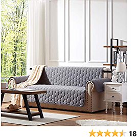 SunStyle Home 100% Waterproof Sofa Cover Furniture Protector Honeycomb Quilted Couch Covers with Adjustable Elastic Strap and Non-Slip Backing - Sofa - Dark Gray/Beige