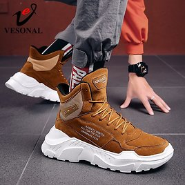US $17.37 56% OFF Suede Genuine Leather Fashion Winter Boots Men Shoes for Men's Ankle Rock Thick Sole Hip Hop Streetwear Male Sneakers Boot Male Snow Boots  - AliExpress