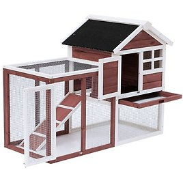 Genebern Wooden Rabbit Hutch with Ladder and Outdoor Run