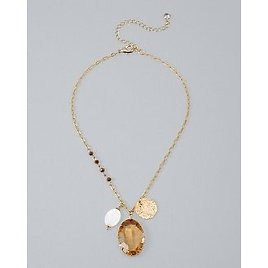 White House Black Market Charm Pendant Necklace with Mother-of-Pearl
