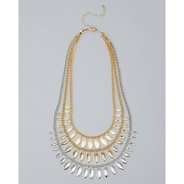 White House Black Market Convertible Mixed-Metal Leaf Station Necklace