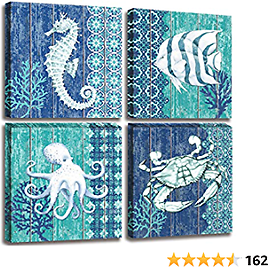 Ocean Life Theme Canvas Wall Art for Bathroom Decor Seahorse Octopus Crab Fish Underwater World Pictures Prints Navy Blue Painting Framed Artworks for Bedroom Decoration