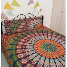 Mandala Duvet Quilt Cover with Pillow Case Double King Size Indian Bedding Set