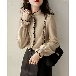US $15.92 57% OFF|cardigan Women Fashionable 2020 Autumn Simple and Elegant Knitted Cardigan Soft and Sweet Knitted Wood Ears Women's Blouse|Cardigans| - AliExpress