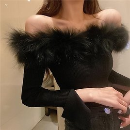 US $13.53 21% OFF|Sexy Off Shoulder Fashion Fur Tank Top Casual Candy Colors Knitted Crop Top|Pullovers| - AliExpress
