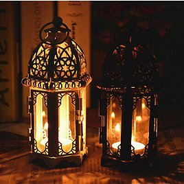 2x Moroccan Style Iron Candle Holder Lantern Tealight Candlestick Home Decor