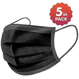 BLACK Face Masks 5 Pack Protection Face Mouth Covering Reusable Breathable