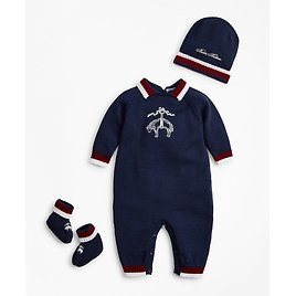 Boys Knit Wool Bodysuit, Hat & Booties Set - 3 Months - Brooks Brothers