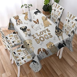 US $7.48 48% OFF I Love Dogs Tablecloth Cartoon Kitchen Dining Table Decorations Covers Pug Pet Washable Cloth TV Cabinet Rectangle Table Tablecloths  - AliExpress