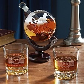 Rixensart Marquee Personalized Fairbanks Glasses with Globe 3 Piece Whiskey Decanter Set
