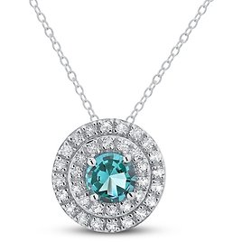 """Oceanic Blue Topaz & White Topaz Double Halo Necklace Sterling Silver 18"""""""
