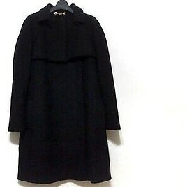 Auth GUCCI Black Womens Coat Wool Cashmere Rayon #42