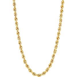 """Brilliance Women's 4.9MM Rope Hollow Chain 10K Yellow Gold Necklace, 22"""""""