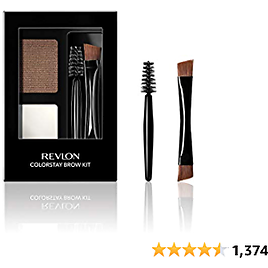 Revlon ColorStay Brow Kit, Includes Longwear Brow Powder, Clear Pomade, Dual-Ended Angled Tip Eyebrow Brush & Spoolie Brush, Soft Brown (104), 0.08 Oz