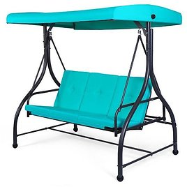 Turquoise 3-Seat Canopy Porch Swing