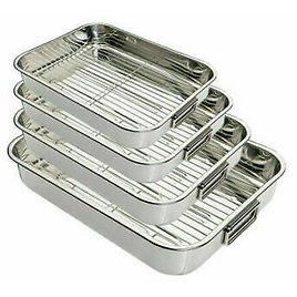 Stainless Steel Roasting Tray Oven Pan Dish Baking Roaster Tin Tray Grill Rack Z