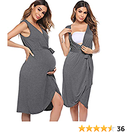 Nursing Nightgown 3 in 1 Labor Delivery Nursing Dress Sleeveless Maternity Gown