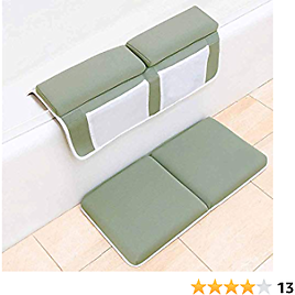 """Bath Kneeler with Elbow Rest Pad Set 1.5"""" Thick 22"""" Wide Memory Foam Kneeling Pad and Elbow Support for Knee & Arm Support Large Bathtub Kneeling Mat with Toy Organizer Non-slip Machine Washable"""