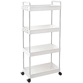 SOLEJAZZ Rolling Storage Cart 4-Tier Mobile Shelving Unit Bathroom Carts with Handle for Kitchen Bathroom Laundry Room