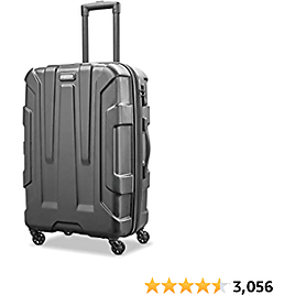 Samsonite Centric Hardside Expandable Luggage with Spinner Wheels, Black, Checked-Medium 24-Inch