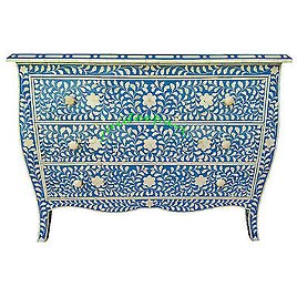 Handmade Bone Inlay Floral Blue French Curved Leg Chest of Drawer 3 Drawer