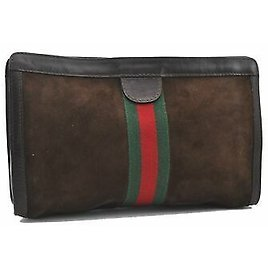 Authentic GUCCI Web Sherry Line Clutch Bag GG Suede Leather Brown A9746