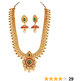 Crunchy Fashion Bollywood Style Gold Plated Traditional Indian Jewelry Necklace Set with Earrings & Tika for Women/Girls