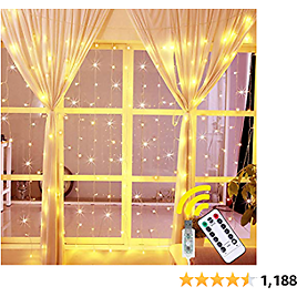 Ollny Curtain Lights Fairy String Twinkle Lights 200 LED 6.6 Ft with 8 Lighting 2020