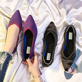 Pointed Toe Flats Shoes Environmental Breathable Anti-slip for Women Girls Party