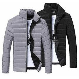Outwear Jacket Men Winter Padded Coat Casual Clothes Zipper Jackets Comfortable