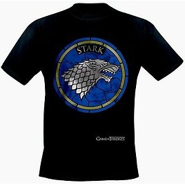 Game of Thrones Stark Black Stained Glass Design Adult T Shirts NEW
