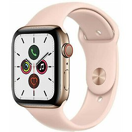Apple Watch Series 5 44mm GPS Cellular Stainless Steel Gold Case Pink Sport Band
