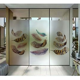 Feather Plants Window Film Sticker Frosted Static Cling Cover Glass Sticker Deco