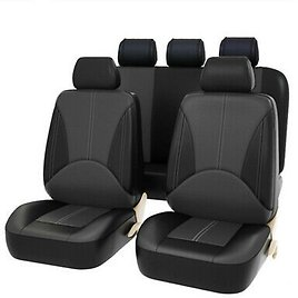 PU Leather Car Seat Covers 9 Pieces Front & Rear Full Interior Accessories