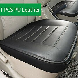 Single Front Seat Cushion Cover Mat Black PU Leather Auto Office Chair Universal