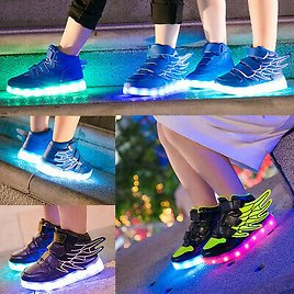 USB Charge LED Flash Light Up Shoes Kids Boy Girl Casual Trainers Sneakers Black