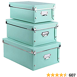 3 Pack/Set Plastic Storage Box with Lid,Waterproof Storage Bins for Toys/Shoes/Clothes/Office Teal Color