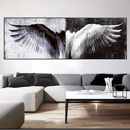 Black And White Retro Wings Home Decor Canvas Painting Posters And Prints Vintage Angel Wings Picture For Living Room Decoration