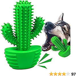 Dog Toothbrush Teeth Cleaning Toys Durable Dental Chew Toy Rubber Chewing Brush Sticks Bones for Small Dogs Pet (Small)