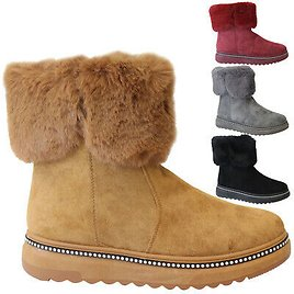 Womens Winter Snow Boots Black Waterproof Faux Fur Lined M/&S Size 4 New RRP £79